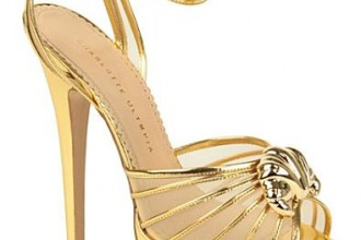 gold platform sandals with croissant detail