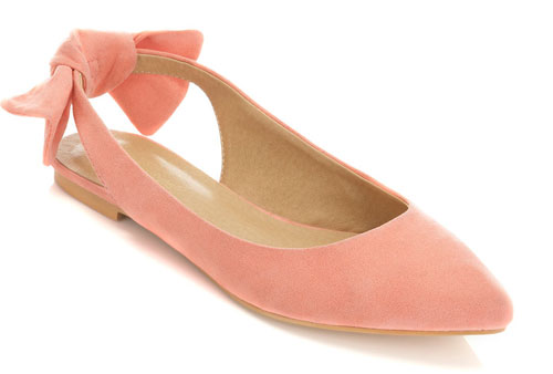 coral ballet flats with bow at heel