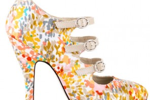 floral print shoes with triple strap