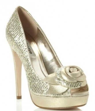 gold platform peep toes with flower embellishment