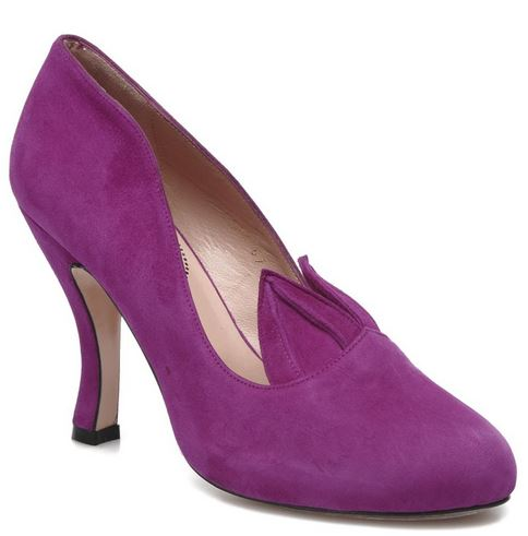 purple suede court shoe with ears