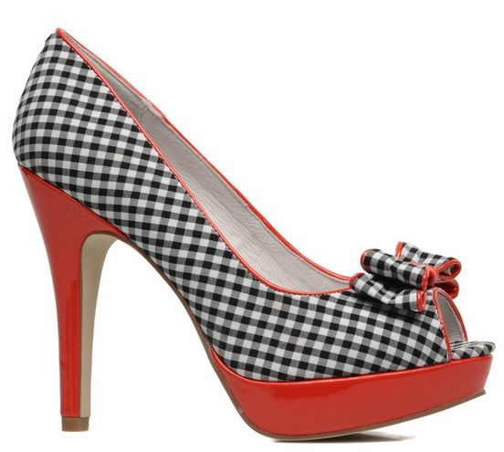 Cafe Noir gingham peep toes with bow