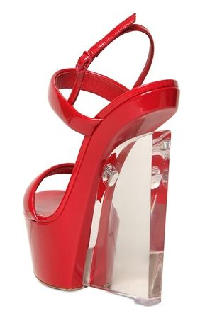 red shoe with clear wedge heel