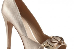 gold peep toes with buckle