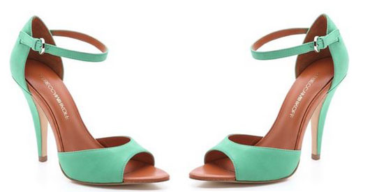 green high heel sandals with open toe and ankle strap