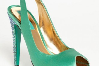 green satin slingback shoes with crystals on heel and platform