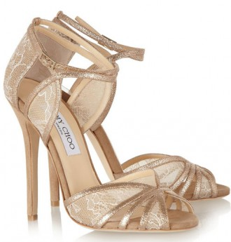 gold leather sandals with lace inserts
