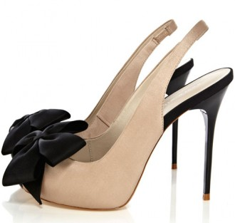 black and tan peep toes with bow