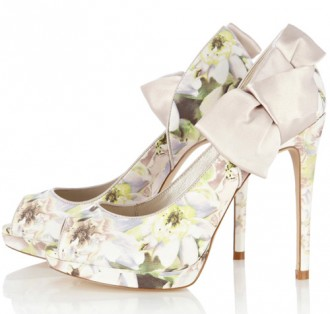 Karen Millen floral peep toes with satin bows