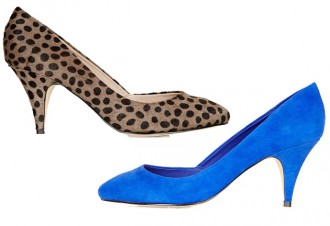 mid-height heels in blue and leopard print