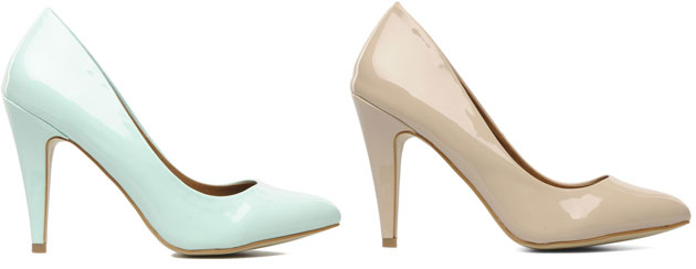 high heel shoes in mint and nude