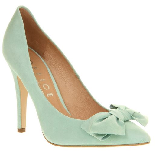 Shoe Kryptonite: Office 'Ophelia Bow' mint suede bow shoes