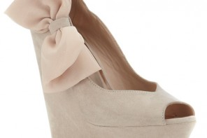 nude wedges with bow