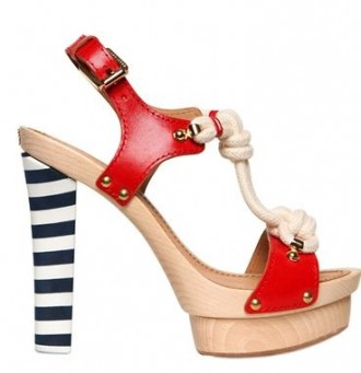 nautical sandals with stripe heel and red upper