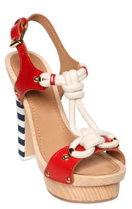 red, white and blue sandals with nautical detail