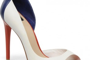 red, white and blue peep toes