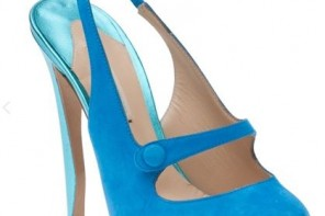 blue high heel mary jane shoes