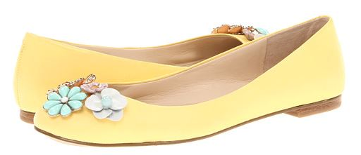 yellow ballet flats with flower embellishment