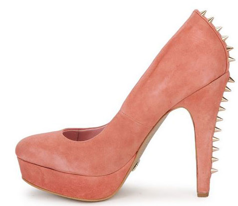 Ravel pink suede court shoes with spike heel
