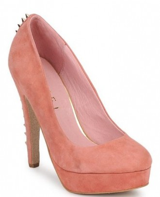 pink suede platforms with studded heels