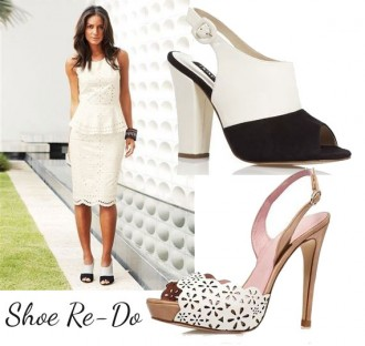 white broderie angliase dress with choice of shoes