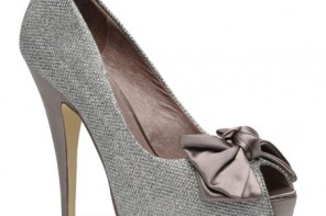 silver high heel shoes with peep toe and bow