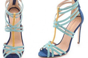 blue and yellow strappy sandals