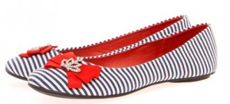 nautical stripe ballet flats with red bow and crown