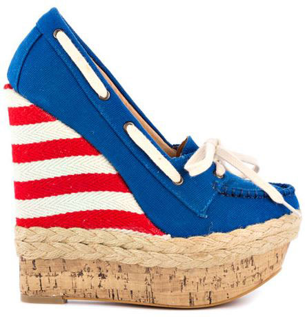 blue loafer with red and white stripe wedge heel