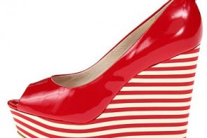 red platform wedges with stripe sole