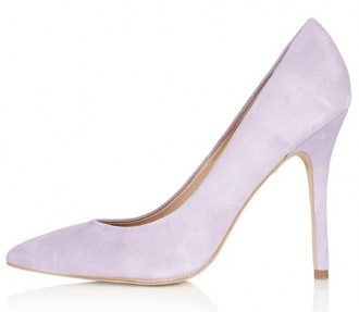 lilac suede court shoes with high heel