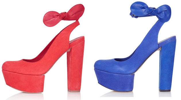 red and blue platform shoes with bow detail
