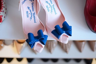 Vivienne Westwood for Melissa Lady Dragon bow shoes in pink and blue