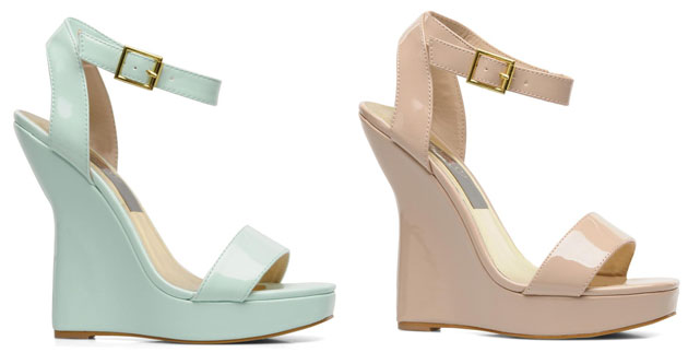 mint and nude wedges