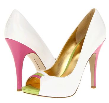 white shoes with pink heels