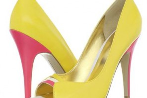 yellow peep toe shoes with pink heel