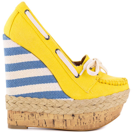 yellow boat shoe with stripe wedge heel