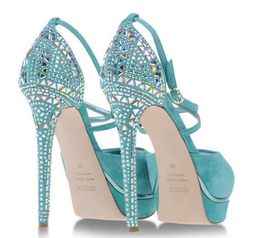 turquoise high heels with jewel embellishment