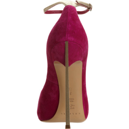 think metal heel on red Casadei Blade pump