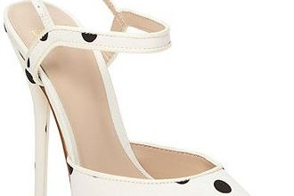 white peep toe polka dot high heel sandals