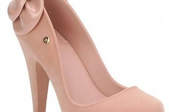 pink shoes with bow on heel