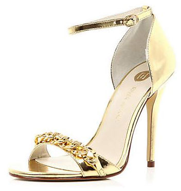 gold chain sandals with high heels