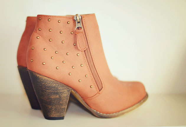 studded ankle boots in tan