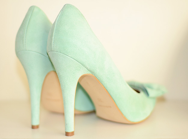 mint green high heel shoes