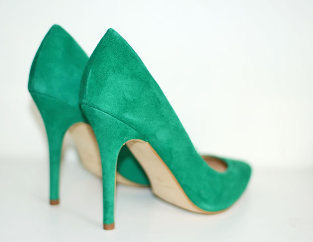green suede stilettos