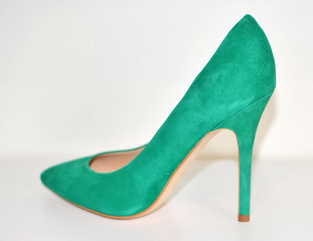 Topshop green suede 'Gwenda' pointed toe court shoes