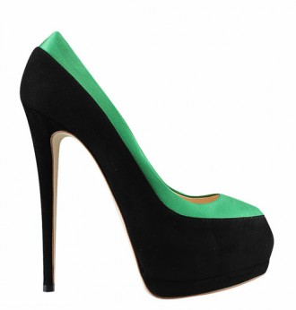 black and green suede peep toes