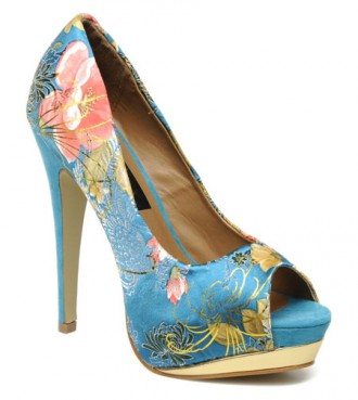 blue floral shoes