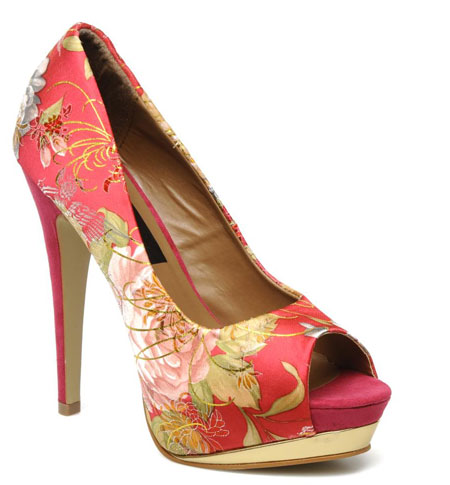 red floral print shoes