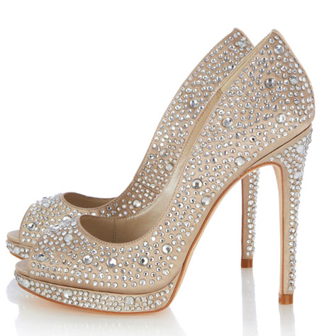 jewel covered peep toe shoes